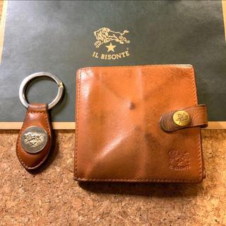 IL BISONTE - イルビゾンテ 二つ折り財布 キーホルダー セット ブラウン ヌメ