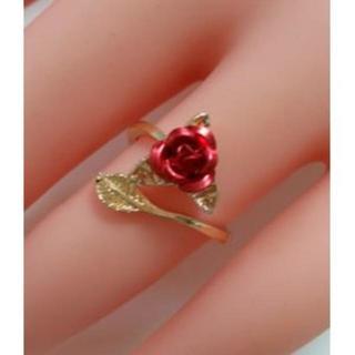 アウトレット(色ゴールド)赤薔薇指輪/リング/調節可能(リング(指輪))