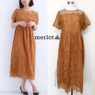 merlot - merlot plus ドットチュール ビスチェ風 ドレス ワンピース