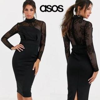 エイソス(asos)のASOS DESIGN ハイネックレースロングスリーブドレス(ミディアムドレス)