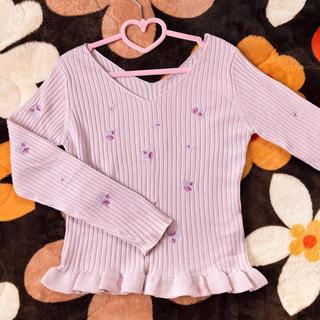 NICE CLAUP - ナイスクラップ 花刺繍 フリル メロー ニット ピンク