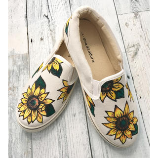SunFlower Pained Shoes. ひまわり柄ペイントスリッポン(スニーカー)