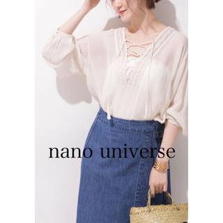 nano・universe - 美品 ナノ ユニバース レーヨン ジョーゼットレースアップブラウス 白