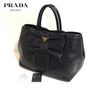 PRADA - 【正規品】美品✨PRADA/ハンドバッグ/リボン/オールレザー/プラダ