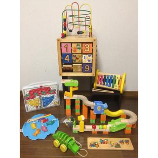 BorneLund - 木のおもちゃ 7点セット 積み木 パズル 型はめ さかなつり スロープ 形合わせ