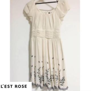 L'EST ROSE - フラワー刺繍 ワンピース
