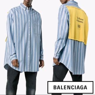 Balenciaga - balenciaga デニム 長袖 シャツ バッグロゴ ストライプ