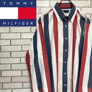 TOMMY HILFIGER - 【レア】トミーヒルフィガー☆フラッグ刺繍ロゴ入りトリコロールカラーシャツ