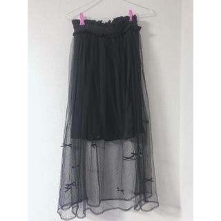 アンクルージュ(Ank Rouge)のリボンドットチュールスカート(ロングスカート)