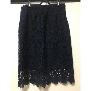 しまむら - 美品しまむらHKレーススカート /セレモニースカート  ネイビー