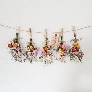 くうにぃ様saleボリュームバラたっぷりと小花のドライフラワースワッグガーランド(ドライフラワー)