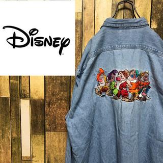 Disney - 【激レア】ディズニー☆白雪姫7人の小人バックビッグキャラ刺繍デニムシャツ 90s