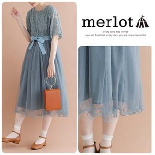 merlot - merlot plus*レース切り替えチュールドレス グリーン