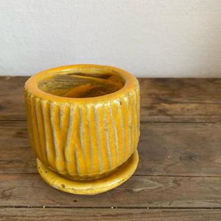こっくり可愛い陶器鉢*ルミオラ*黄色*S(プランター)