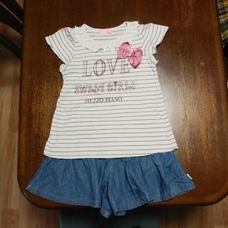 メゾピアノ(mezzo piano)のTシャツとキュロットのセット(Tシャツ/カットソー)