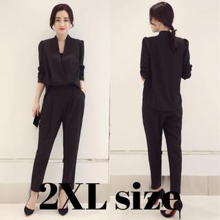 レディース パンツ スーツ ドレス オールインワン 風 ブラック 2XLサイズ