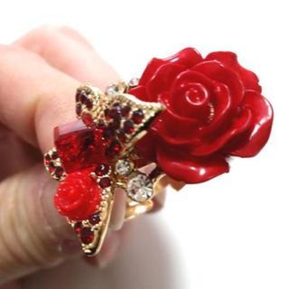 新品☆赤大きな薔薇と蝶のリング/指輪/ゴシック/ゴスロリ(リング(指輪))