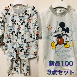 Disney - ディズニー ミッキー マウス 長袖パジャマ tシャツ 3点セット 総柄 腹巻き