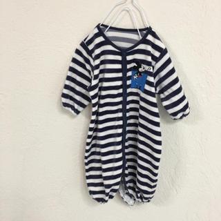 Disney - baby赤ちゃんネイビーミッキーDisneyベロア素材ロンパース