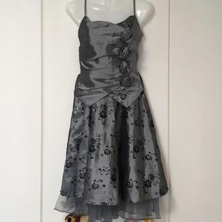 ひざ丈 ドレス メタリックシルバー (ミディアムドレス)