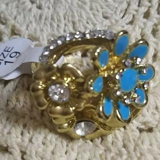ほぼ未使用 ブルーの花のリング 19号 フランス パリで購入 レトロ可愛い指輪(リング(指輪))