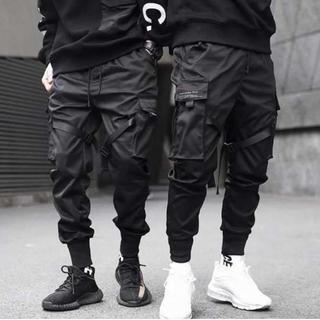 新品 ブラック カーゴパンツ サバゲー タクティカルパンツ ストリート メンズ