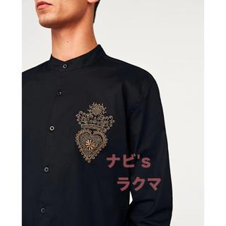 ZARA - 新品 完売 ZARA MAN モード系 刺繍 ストレッチ シャツ マオカラー