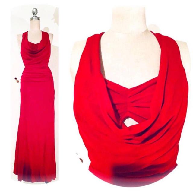 【カラードレス】胸元ドレープ*ラインストーン付*バックレス*ストレッチワンピース レディースのフォーマル/ドレス(ロングドレス)の商品写真