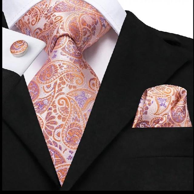 【ピンク×ペイズリー】ネクタイ・ポケットチーフ・カフス 3点セット メンズのファッション小物(ネクタイ)の商品写真