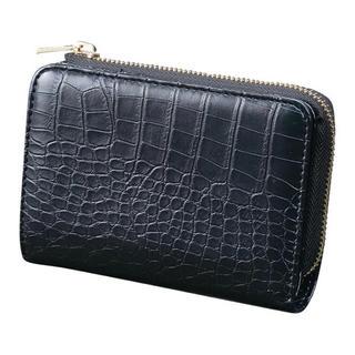 しまむら - プチプラのあや クロコ柄二つ折り財布 黒