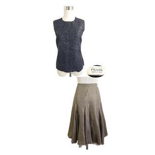 PRADA - PRADA 光沢ジャガード織カットソー イタリアシルクスカートはおまけのセット