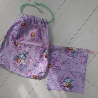 ディズニー(Disney)のソフィア ハンドメイド 巾着 2枚  ディズニープリンセス (体操着入れ)