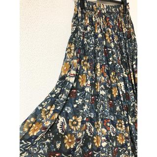 サンタモニカ(Santa Monica)のvintage グリーン 花柄 インド綿 マキシスカート(ロングスカート)