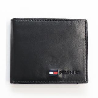 TOMMY HILFIGER - 新品 トミー ヒルフィガー 二つ折り 財布 折財布 本革 コインケース ブラック