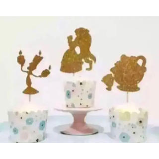 Disney - 【新品未使用】ケーキトッパー  美女と野獣 8本