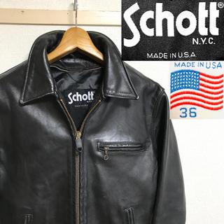 schott - 希少!90's USA製!SCHOTTショット 643レザーライダース ブラック