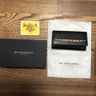 BURBERRY - バーバリー BURBERRY 3連 キーケース 本革 レザー ブラックxチェック