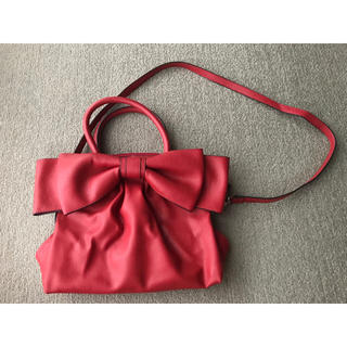 M'S GRACY - エムズグレイシー  バッグ ショルダーベルト付 赤(レッド) リボン付 合成皮革