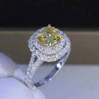 【イエロー】輝く モアサナイト ダイヤモンド リング(リング(指輪))