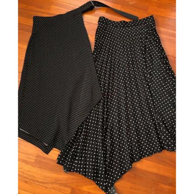 Mila Owen(ミラオーウェン)の《新品タグ付き》ミラオーウェン プリーツレイヤードスカート ドット レディースのスカート(ロングスカート)の商品写真