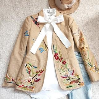VALENTINO - VALENTINO リネン刺繍ジャケット 2 美品
