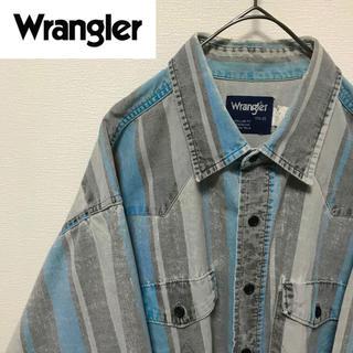 ラングラー(Wrangler)の【希少デザイン】ラングラー デニムシャツ ストライプ 90s 古着 ストリート(シャツ)