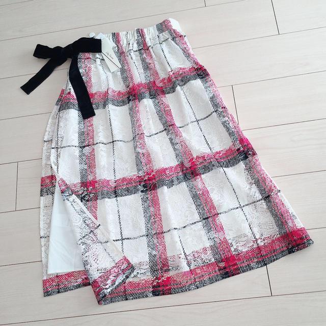 Lily Brown(リリーブラウン)の新品タグ付き リリーブラウン チェックプリントレーススカート レディースのスカート(ロングスカート)の商品写真