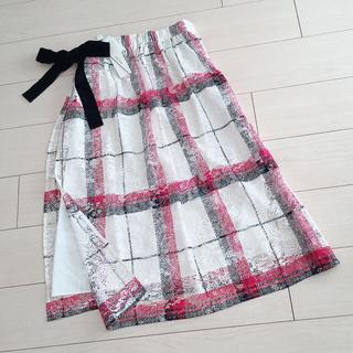 Lily Brown - 新品タグ付き リリーブラウン チェックプリントレーススカート