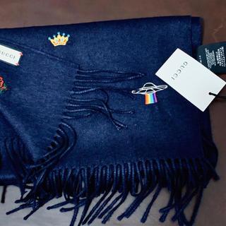 Gucci - GUCCI エンブロイダリー マフラー カシミア シルク 刺繍