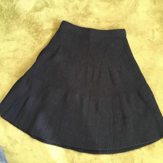 ジーユー(GU)のGU ニットスカート ブラック(ひざ丈スカート)