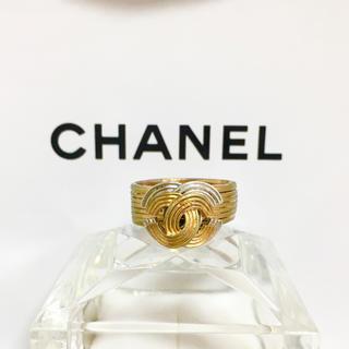 CHANEL - 正規品 シャネル 指輪 ゴールド 金銀 ロゴ ダブル ココマーク コンビ リング