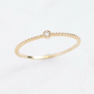 ノワール(NOIR)のNOIR DE POUPEE K10ダイヤモンド&ミル ピンキーリング (リング(指輪))