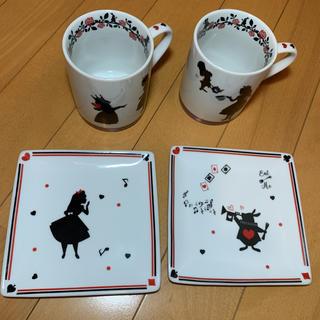 不思議の国のアリス ペアマグカップ ケーキ皿 セット(食器)
