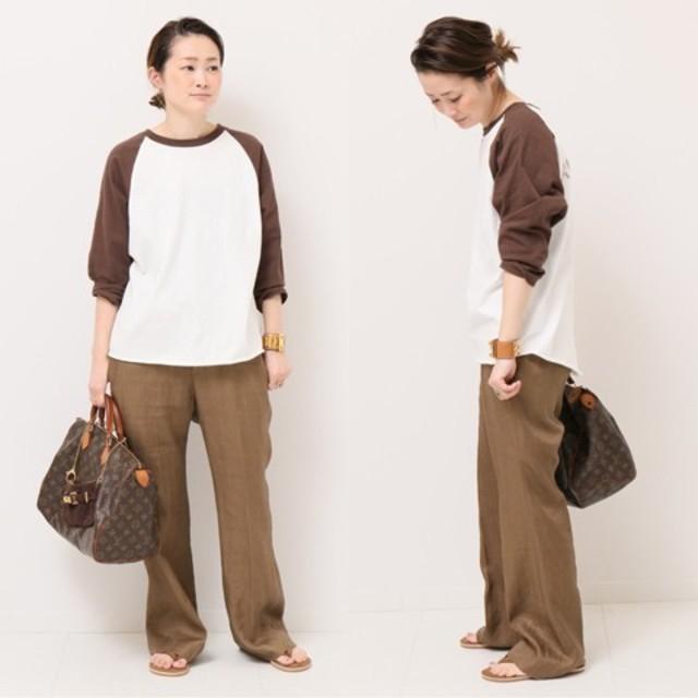 DEUXIEME CLASSE(ドゥーズィエムクラス)の《完売》ドゥーズィエムクラス購入 アメリカーナ ベースボール Tシャツ ブラウン レディースのトップス(Tシャツ(長袖/七分))の商品写真